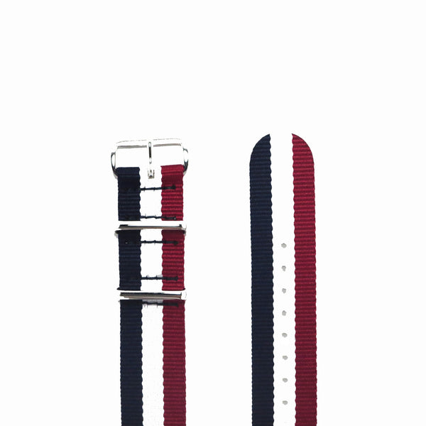 "Blue, White and Red NATO Strap with Polished Silver Buckle ""The Aviator Strap"" - Nato Strap Collections - 2"