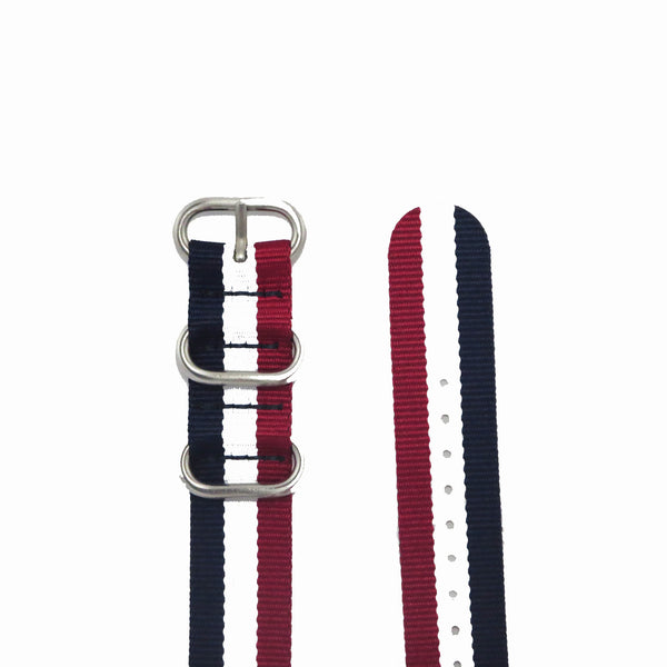 "Blue, White and Red ZULU Strap with Polished Silver Buckle ""The Aviator Strap"" - Nato Strap Collections - 2"