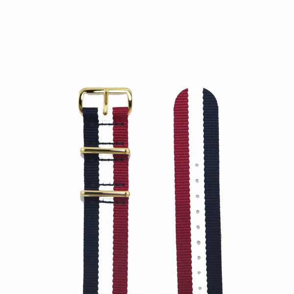 "Blue, White and Red NATO Strap with Gold Buckle ""The Aviator Strap"" - Nato Strap Collections - 2"