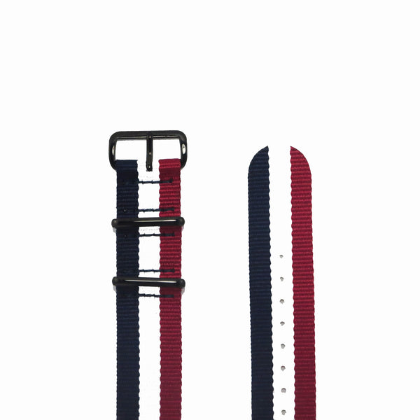 "Blue, White and Red NATO Strap with PVD Black Buckle ""The Aviator Strap"" - Nato Strap Collections - 2"