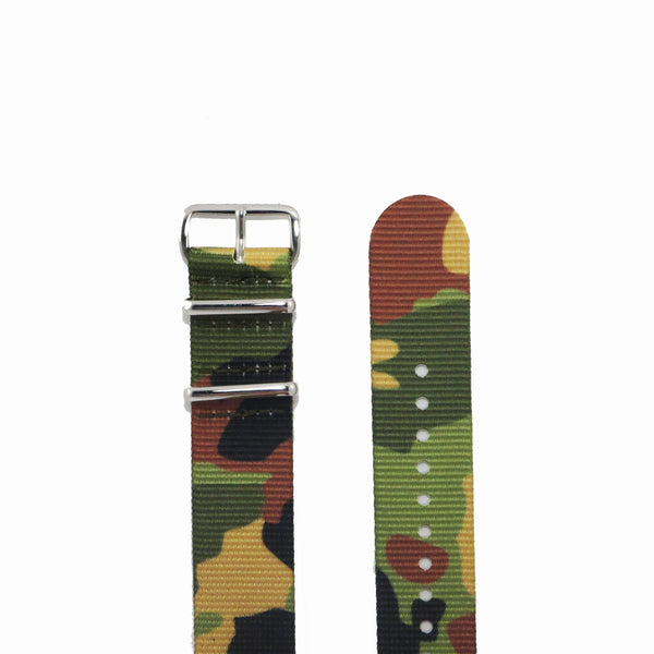 "Green Camouflage NATO Strap with Polished Silver Buckle ""The Guerilla Camo Strap"" - Nato Strap Collections - 2"