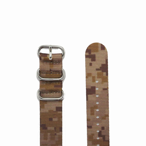 "Tan Camouflage ZULU Strap with Polished Silver Buckle ""The Desert Storm Strap"" - Nato Strap Collections - 2"