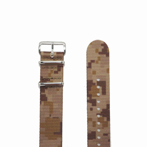 "Tan Camouflage NATO Strap with Polished Silver Buckle ""The Desert Storm Strap"" - Nato Strap Collections - 2"