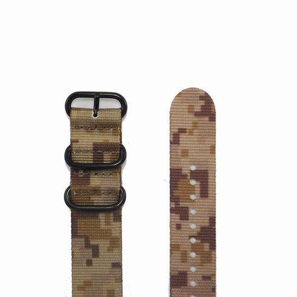 "Tan Camouflage ZULU Strap with PVD Black Buckle ""The Desert Storm Strap"" - Nato Strap Collections - 2"