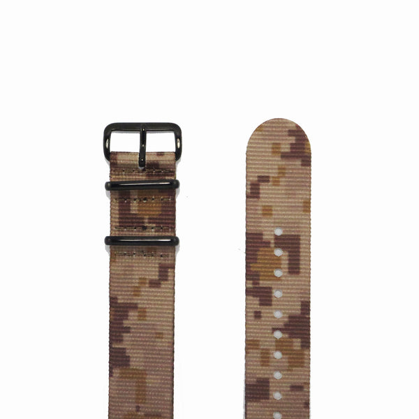 "Tan Camouflage NATO Strap with PVD Black Buckle ""The Desert Storm Strap"" - Nato Strap Collections - 2"