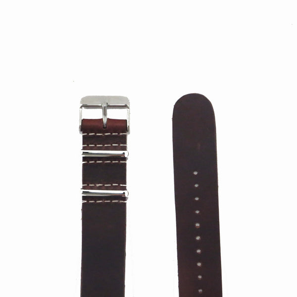 Brown Leather NATO Strap with Polished Silver Buckle - Nato Strap Collections - 2