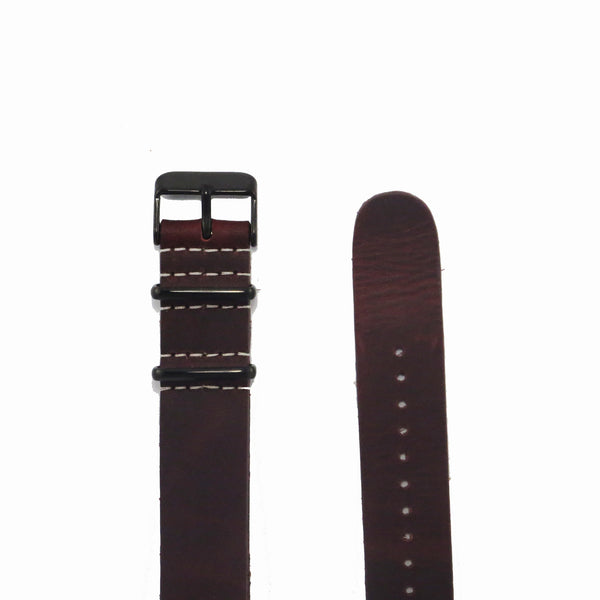 Brown Leather NATO Strap with PVD Black Buckle - Nato Strap Collections - 2