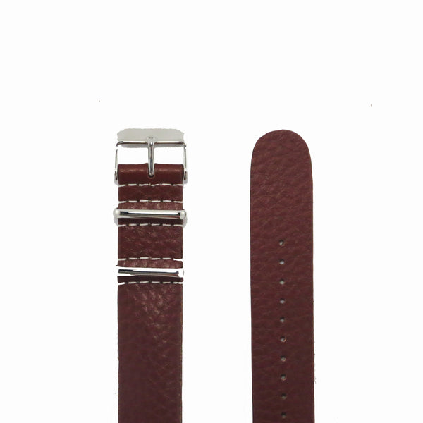 Brown Grain Leather NATO Strap with Polished Silver Buckle - Nato Strap Collections - 2