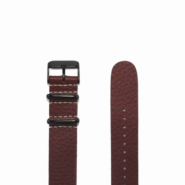 Brown Grain Leather NATO Strap with PVD Black Buckle - Nato Strap Collections - 2