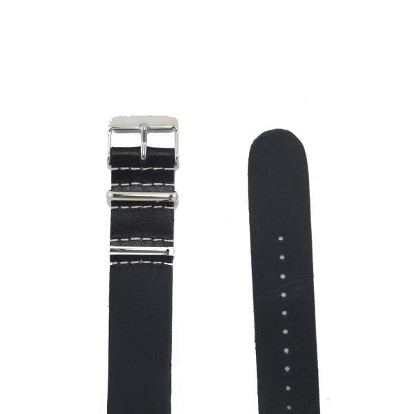 Black Leather NATO Strap with Polished Silver Buckle - Nato Strap Collections - 2