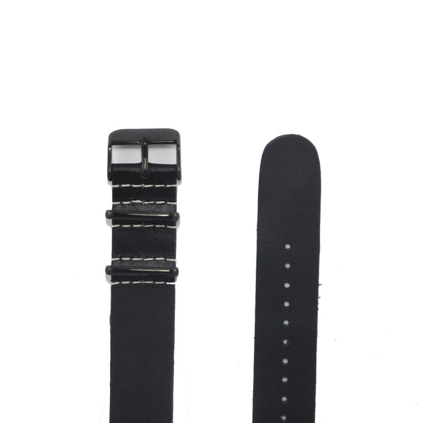 Black Leather NATO Strap with PVD Buckle - Nato Strap Collections - 2