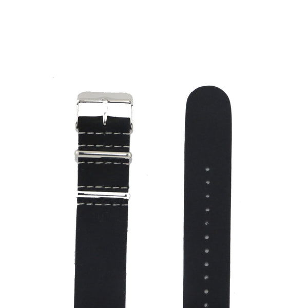 Black Suede Leather NATO Strap with Polished Silver Buckle - Nato Strap Collections - 2