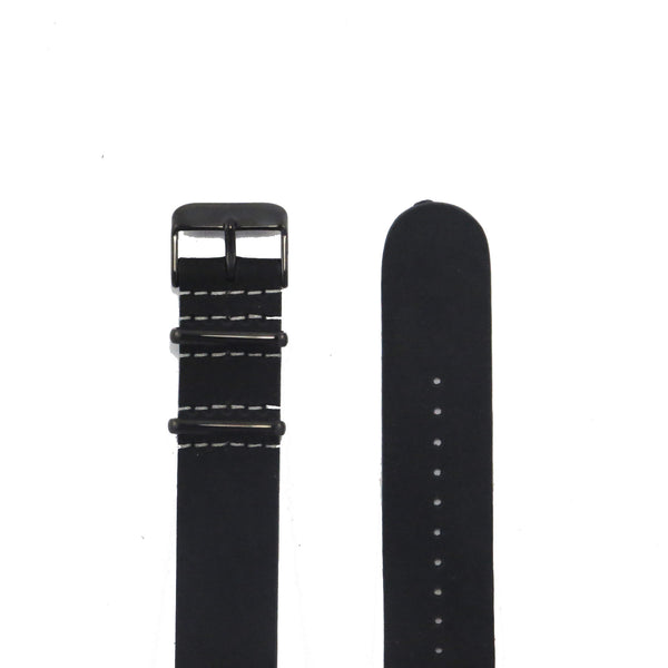 Black Suede Leather NATO Strap with PVD Buckle - Nato Strap Collections - 2