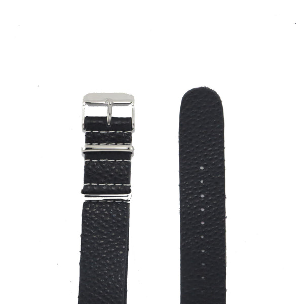 Black Grain Leather NATO Strap with Polished Silver Buckle - Nato Strap Collections - 2
