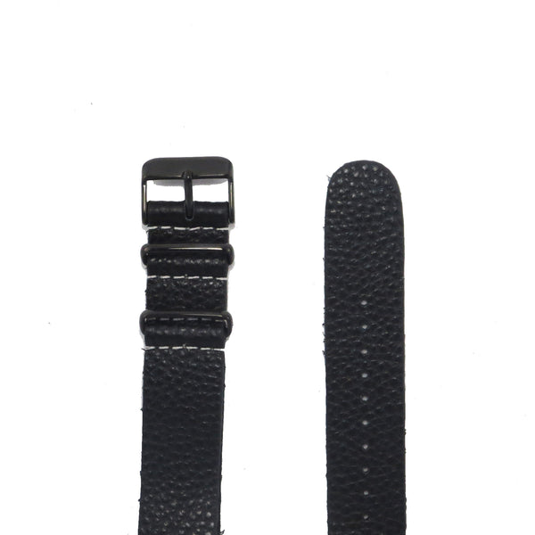 Black Grain Leather NATO Strap with PVD Buckle - Nato Strap Collections - 2