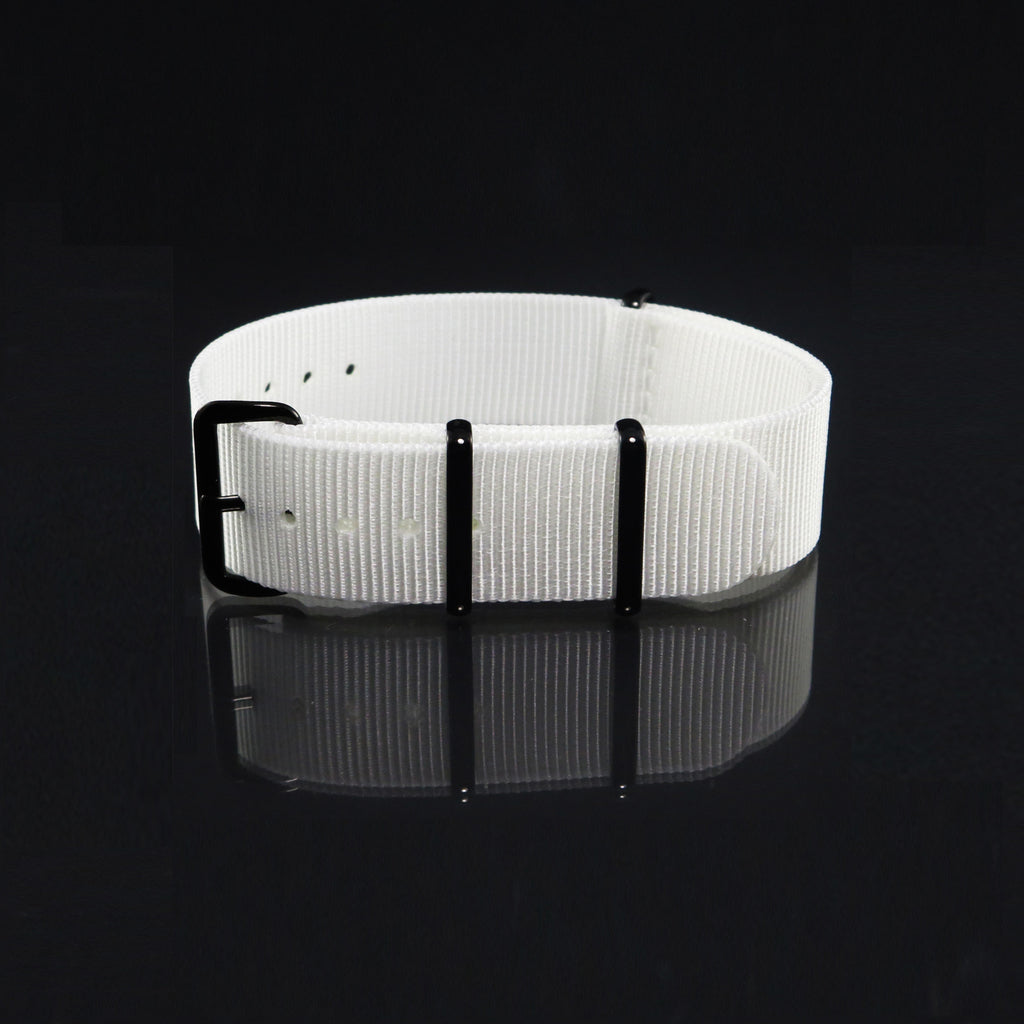 "White NATO Strap with PVD Black Buckle ""The Pearl White Strap"" - Nato Strap Collections - 1"