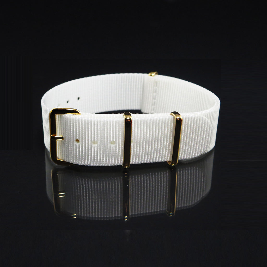 "White NATO Strap with Gold Buckle ""The Pearl White Strap"" - Nato Strap Collections - 1"