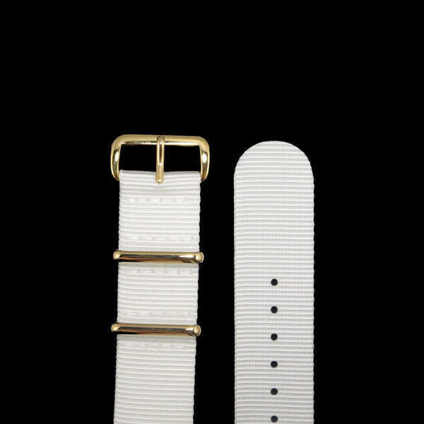 "White NATO Strap with Gold Buckle ""The Pearl White Strap"" - Nato Strap Collections - 2"