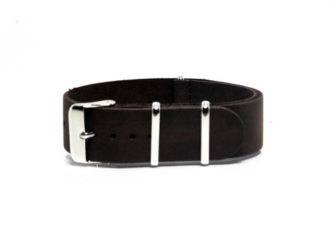 NEW! - Cappuccino Suede Leather NATO Strap with Polished Silver Buckle - Nato Strap Collections - 1