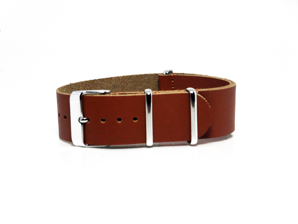 NEW! - Tan Leather NATO Strap with Polished Silver Buckle - Nato Strap Collections - 1