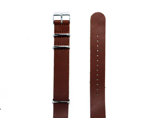 NEW! - Tan Leather NATO Strap with Polished Silver Buckle - Nato Strap Collections - 2