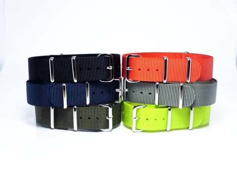New! Solid Nato Bundle with Polished Silver Buckle - Nato Strap Collections - 1