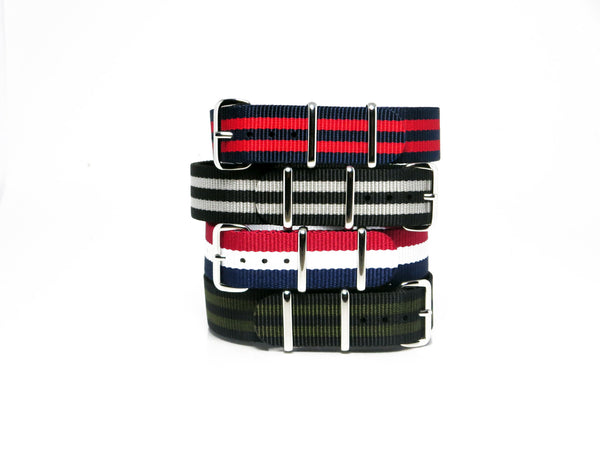New! Striped Nato Bundle with Polished Silver Buckle - Nato Strap Collections - 1