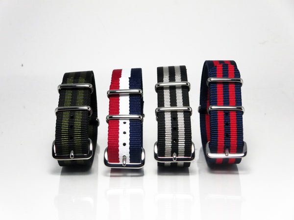 New! Striped Nato Bundle with Polished Silver Buckle - Nato Strap Collections - 2