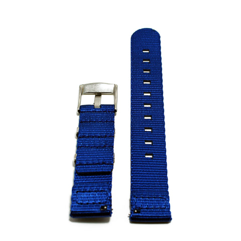 "Two-Piece Blue Herringbone NATO Strap with Brushed Silver Buckle ""The Cobalt Strap"""