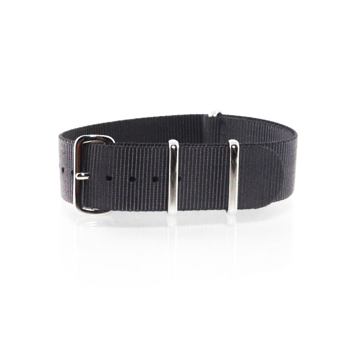 "Dark Grey NATO Strap with Polished Silver Buckle ""The Gun Metal Strap"" - Nato Strap Collections"