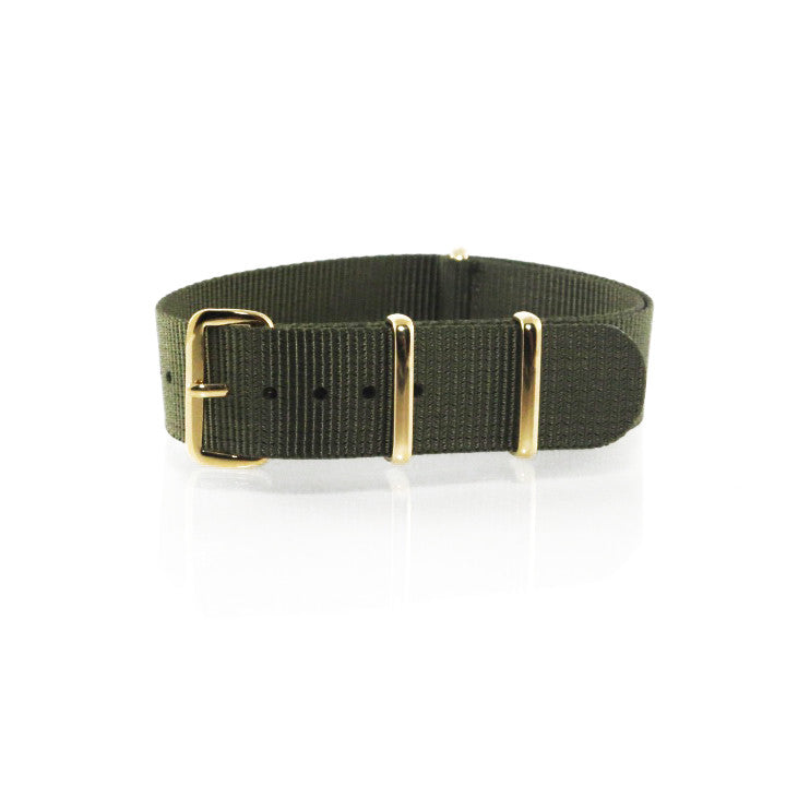 "Green NATO Strap with Gold Buckle ""The Khaki Green Strap"" - Nato Strap Collections - 1"