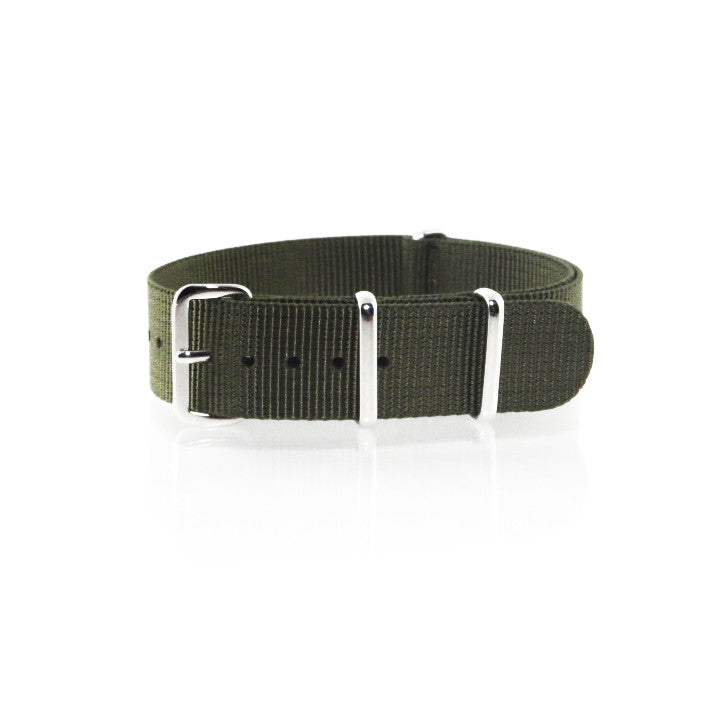 "Green NATO Strap with Polished Silver Buckle ""The Khaki Green Strap"" - Nato Strap Collections - 1"