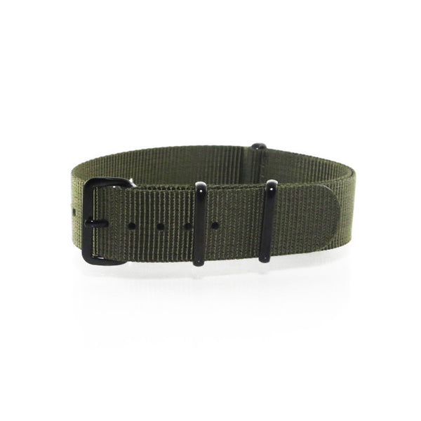 "Green NATO Strap with PVD Black Buckle ""The Khaki Green Strap"" - Nato Strap Collections - 1"