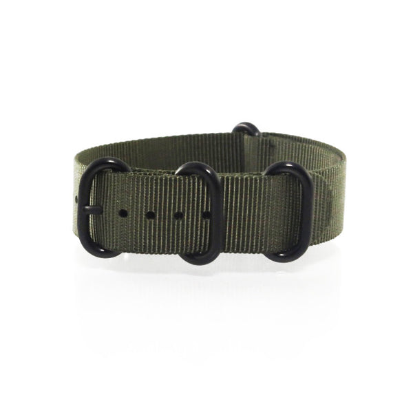 "Green ZULU Strap with PVD Black Buckle ""The Khaki Green Strap"" - Nato Strap Collections - 1"