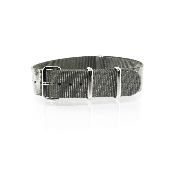 "Grey NATO Strap with Polished Silver Buckle ""The G.10 Strap"" - Nato Strap Collections - 1"