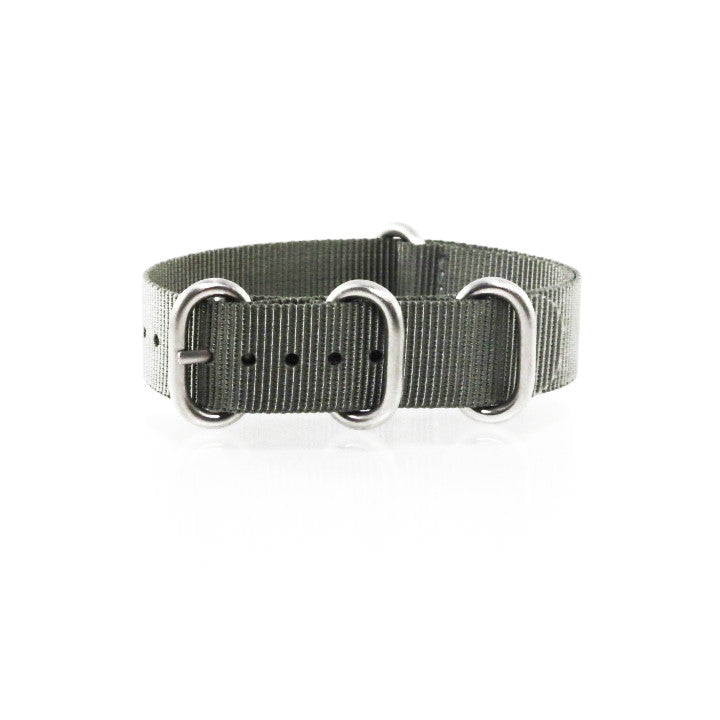 "Grey ZULU Strap with Polished Silver Buckle ""The G.10 Strap"" - Nato Strap Collections - 1"