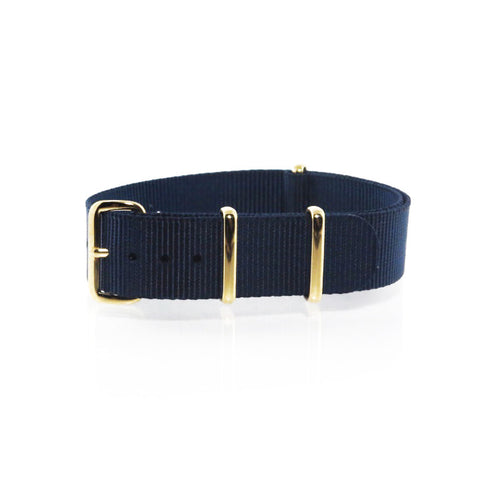 "Navy Blue NATO Strap with Gold Buckle ""The Navy Strap"" - Nato Strap Collections - 1"