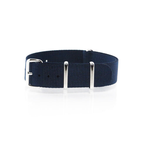 "Navy Blue NATO Strap with Polished Silver Buckle ""The Navy Strap"" - Nato Strap Collections - 1"