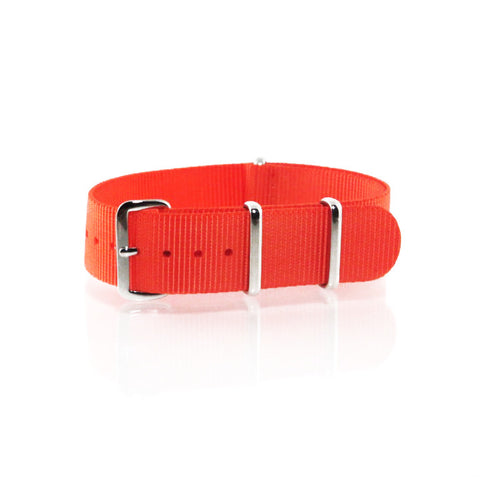"Orange NATO Strap with Polished Silver Buckle ""The Oranje Strap"" - Nato Strap Collections - 1"