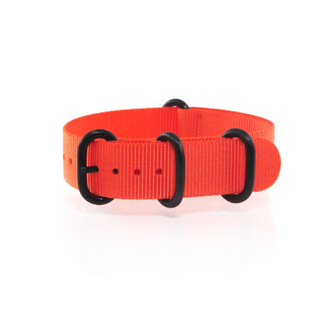 "Orange ZULU Strap with PVD Black Buckle ""The Oranje Strap"" - Nato Strap Collections - 1"