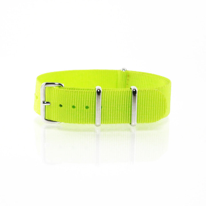 "Yellow NATO Strap with Polished Silver Buckle ""The Highlighter Strap"" - Nato Strap Collections - 1"