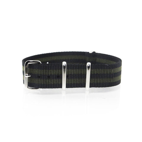 "Black and Gold NATO Strap with Polished Silver Buckle ""The Bourbon Street Strap"" - Nato Strap Collections - 1"