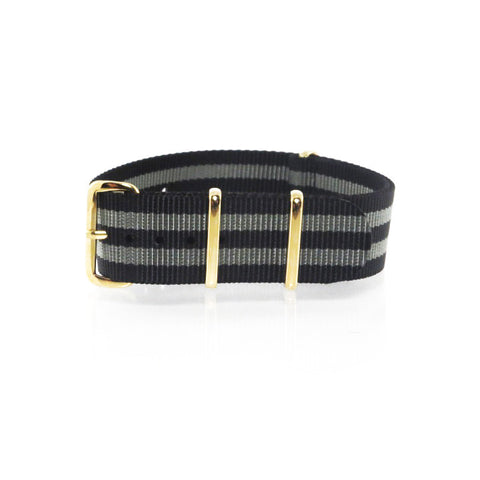 "Black and Grey NATO Strap with Gold Buckle ""The James Bond 007 Strap"" - Nato Strap Collections - 1"