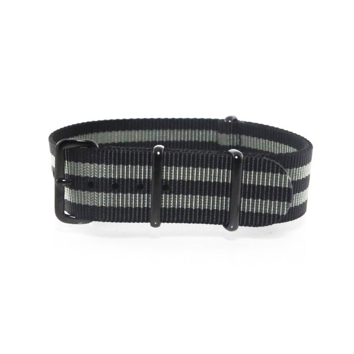 "Black and Grey NATO Strap with PVD Black Buckle ""The James Bond 007 Strap"" - Nato Strap Collections - 1"