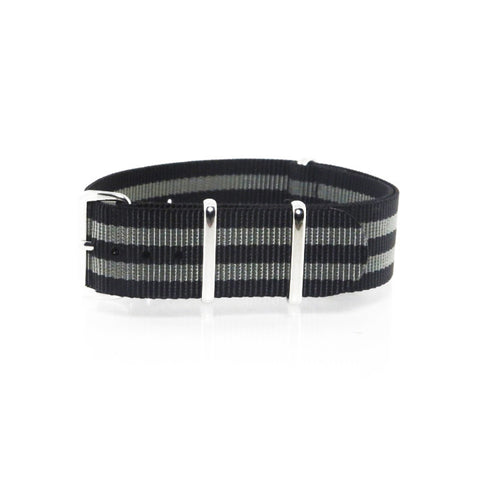 "Black and Grey NATO Strap with Polished Silver Buckle ""The James Bond 007 Strap"" - Nato Strap Collections - 1"