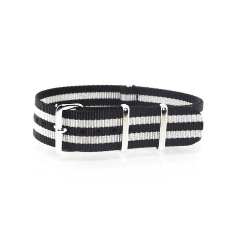 "Black and Silver NATO Strap with Polished Silver Buckle ""The Gatsby Strap"" - Nato Strap Collections"