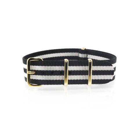 "Black and Silver NATO Strap with Gold Buckle ""The Gatsby Strap"" - Nato Strap Collections"