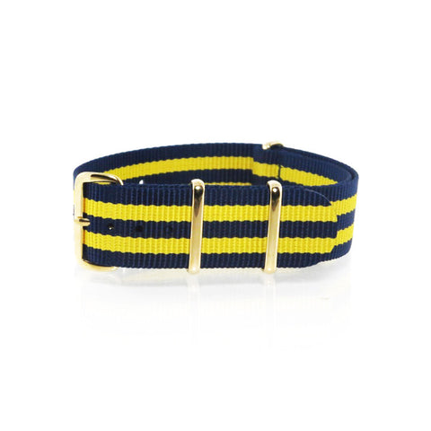 "Blue and Yellow NATO Strap with Gold Buckle ""The Stockholm Strap"" - Nato Strap Collections - 1"