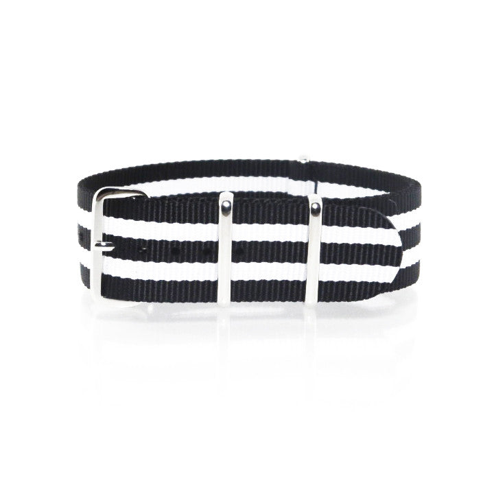 "Black and White NATO Strap with Polished Silver Buckle ""The Geordie Strap"" - Nato Strap Collections - 1"