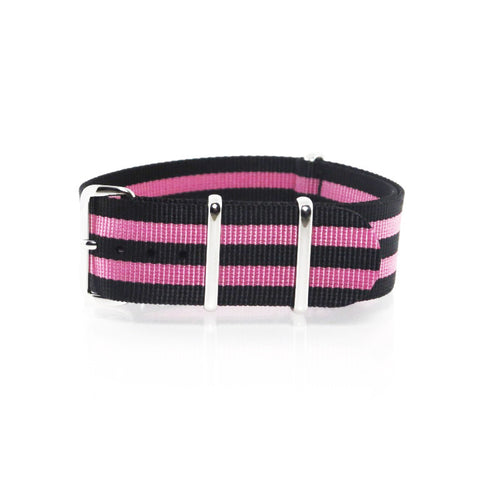 "Black and Pink NATO Strap with Polished Silver Buckle ""The Pink Panther Strap"" - Nato Strap Collections - 1"